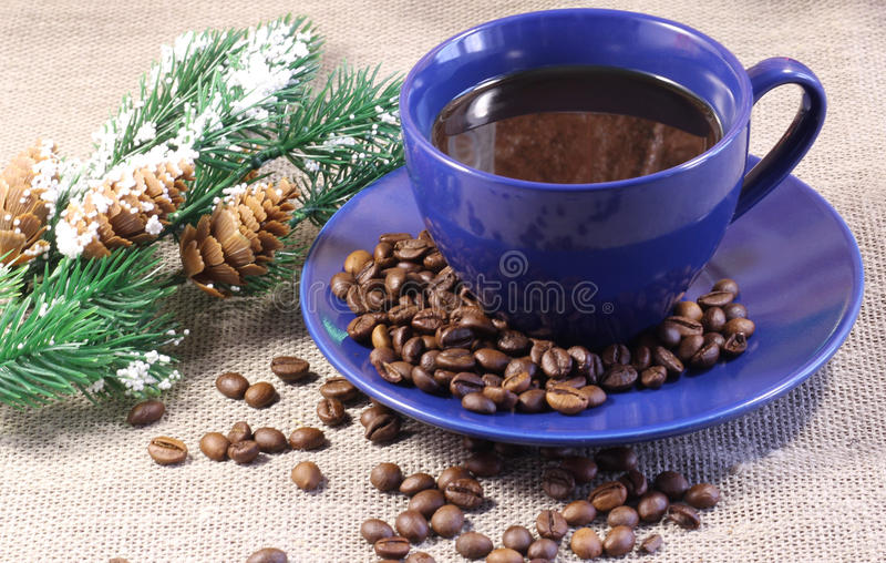 A Cup of coffee and fir-tree branch stock photos