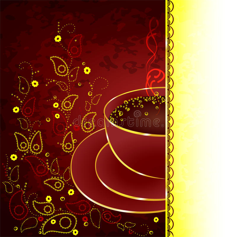Cup Of Coffee With Floral Design Elements Stock Photos