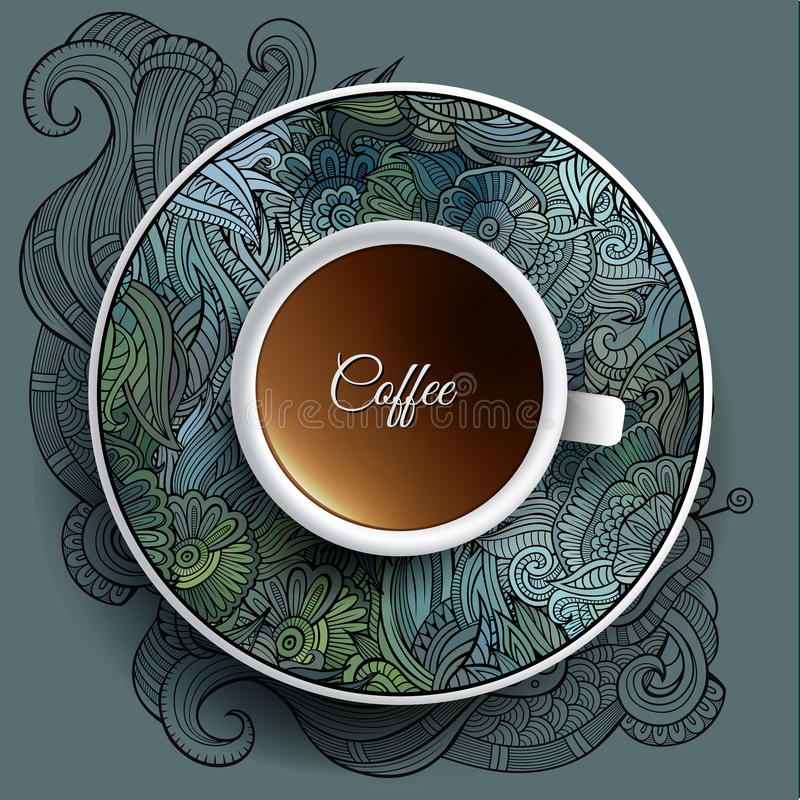 Cup of coffee and floral ornament royalty free illustration