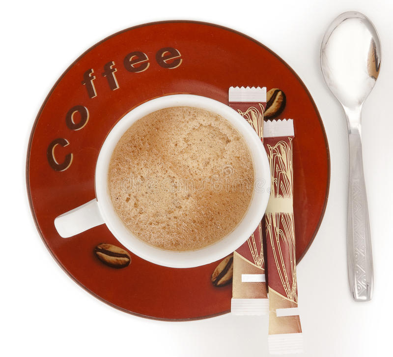 Cup of coffee with foam royalty free stock image