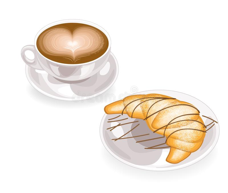A cup of coffee with foam in the shape of a heart and a fresh croissant on a plate with chocolate. Classic French breakfast. vector illustration