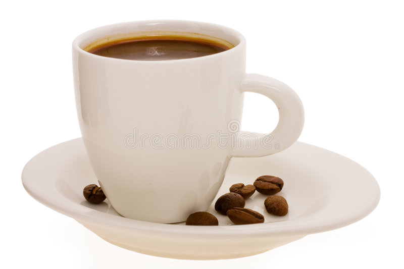 Cup with coffee and grain stock photography
