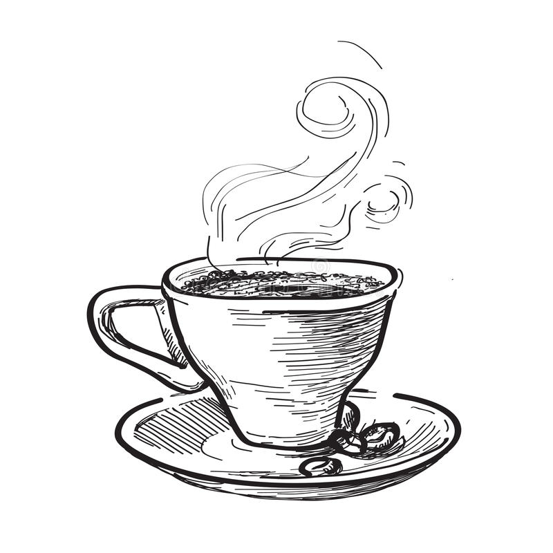 Cup of coffee. Hand drawn illustration royalty free illustration
