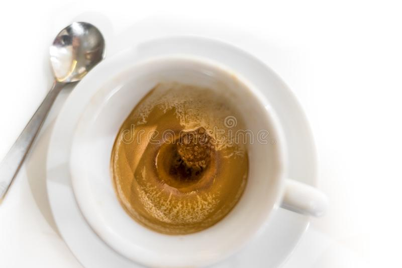 Coffee cup after drank. Cup of coffee that has been drank. Close-up. Top view royalty free stock image