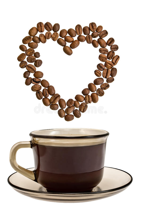 A Cup Of Coffee With A Heart Of Grains Stock Photos