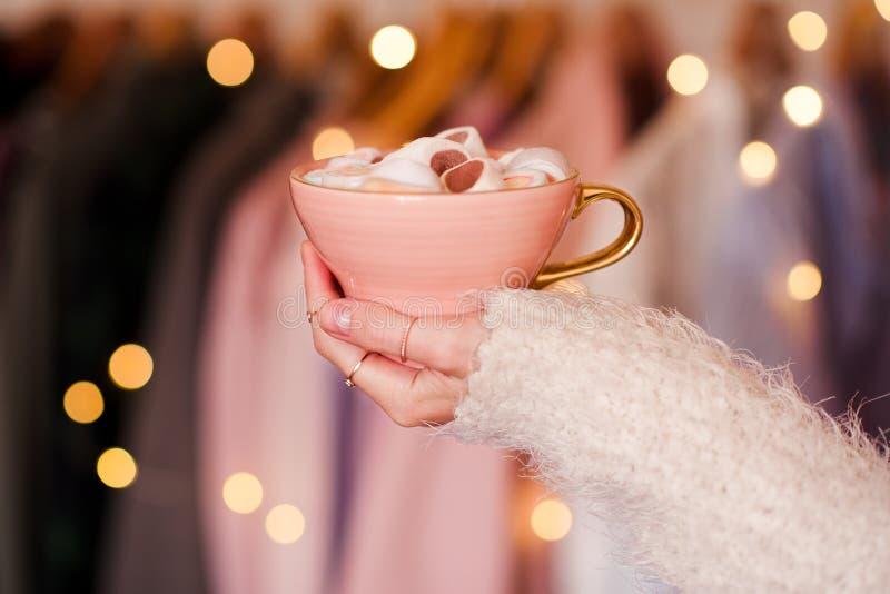Morning coffee over Christmas lights stock photos