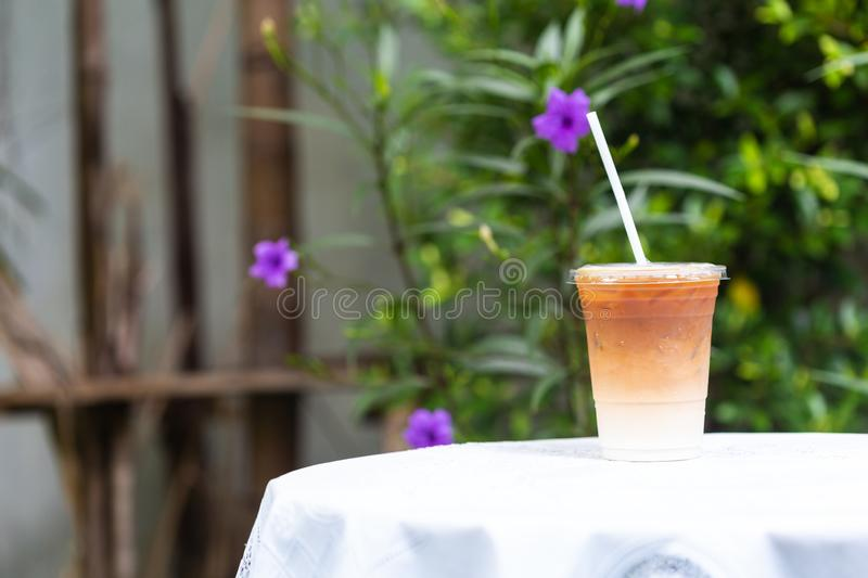 The cup of coffee iced Late. On the table royalty free stock photos