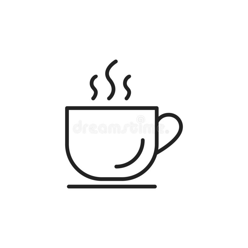 Cup of coffee. Coffee cup icon template black color editable. Coffee symbol Flat vector isolated on white background. Cup of coffee. Coffee cup icon template royalty free illustration