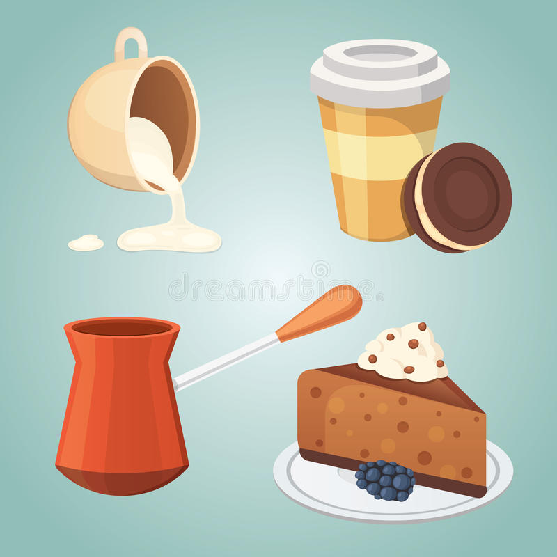 Cup of coffee, latte and chocolate cake food. Sweet deserts time. Cup of coffee, latte and chocolate cake food. Sweet deserts time vector illustration