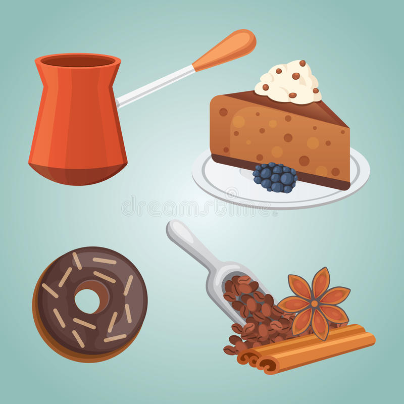 Cup of coffee, latte and chocolate cake food. Sweet deserts time. Cup of coffee, cappuccino, latte and chocolate food. Sweet deserts time vector illustration