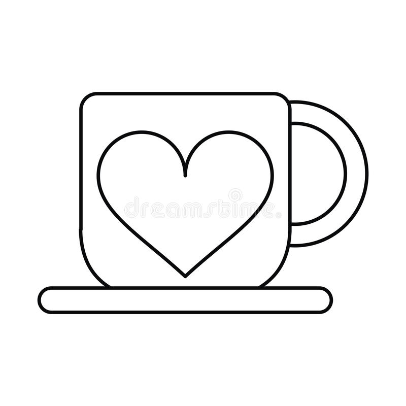 Download Cup Coffee Love Heart Hot Outline Stock Vector