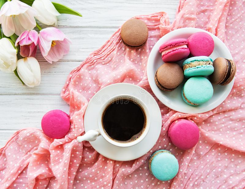 Cup of coffee and macaroons royalty free stock image
