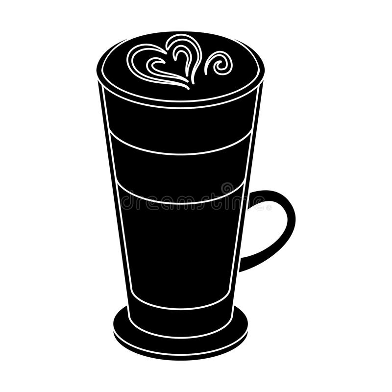 Cup of coffee macchiato with foam. Different types of coffee single icon in black style vector symbol stock illustration royalty free illustration