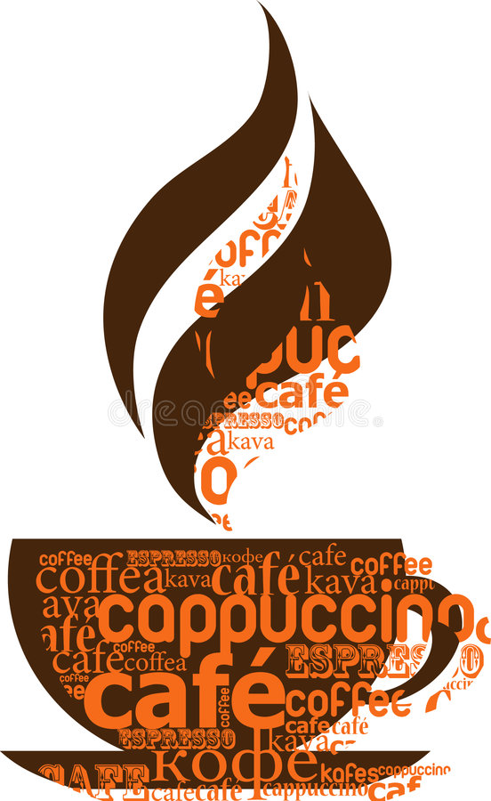 Cup of coffee made from typography royalty free stock images