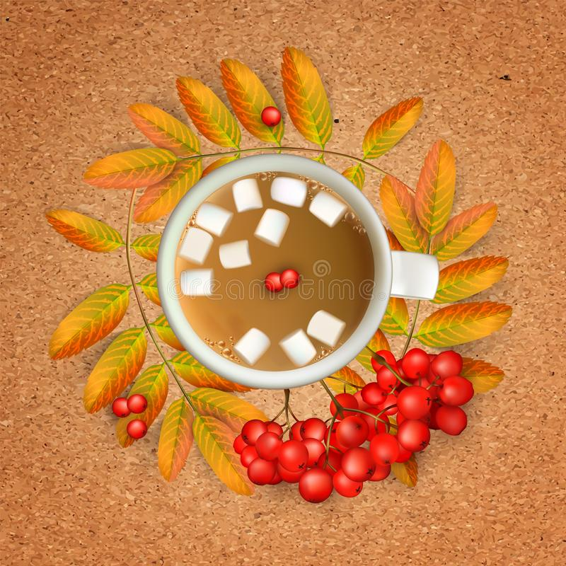 Cup of coffee with marshmallow with realistic 3d mesh rowan branches with ashberry on a crafting paper. Vector. Cup of coffee with marshmallow with realistic 3d stock illustration