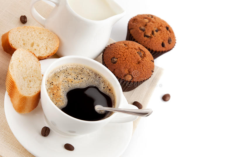 Download Cup of coffee with milk stock photo. Image of baked, breakfast - 21812724