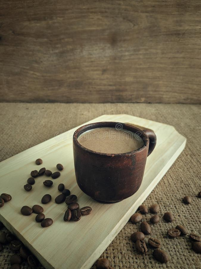 A cup of coffee milk in the morning stock photos