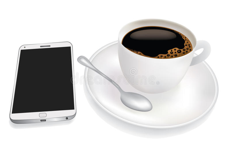 Cup Of Coffee And Mobile Phone Stock Photography
