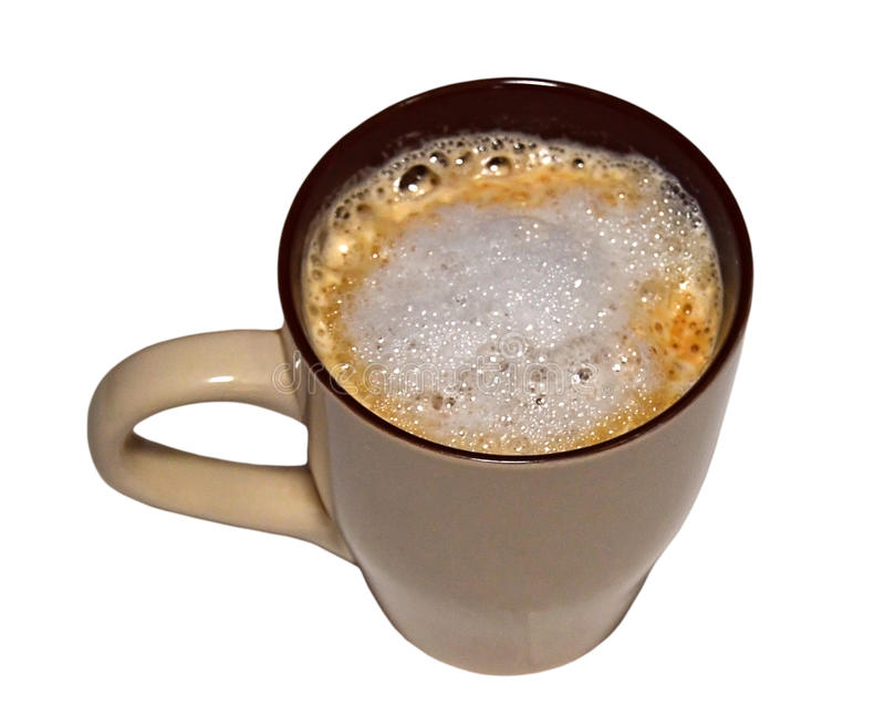 A Cup Of Coffee In A Mug. Isolated With PNG File Attached. A delicious looking mug of frothy cappuccino. Isolated on a white background and also the PNG file is royalty free stock image