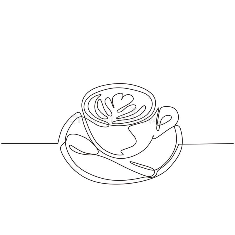 Cup of coffee one line drawing with plate and spoon. Continuous hand drawn single lineart simplicity design royalty free illustration