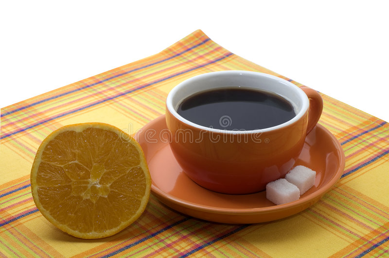 Download Cup Of Coffee With An Orange Stock Image - Image: 3979913