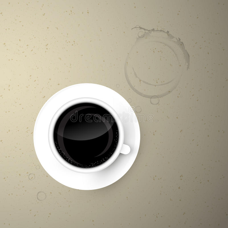 Cup of Coffee on Paper Background royalty free illustration