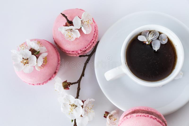 Cup of coffee with pink macarons and white flowers royalty free stock images