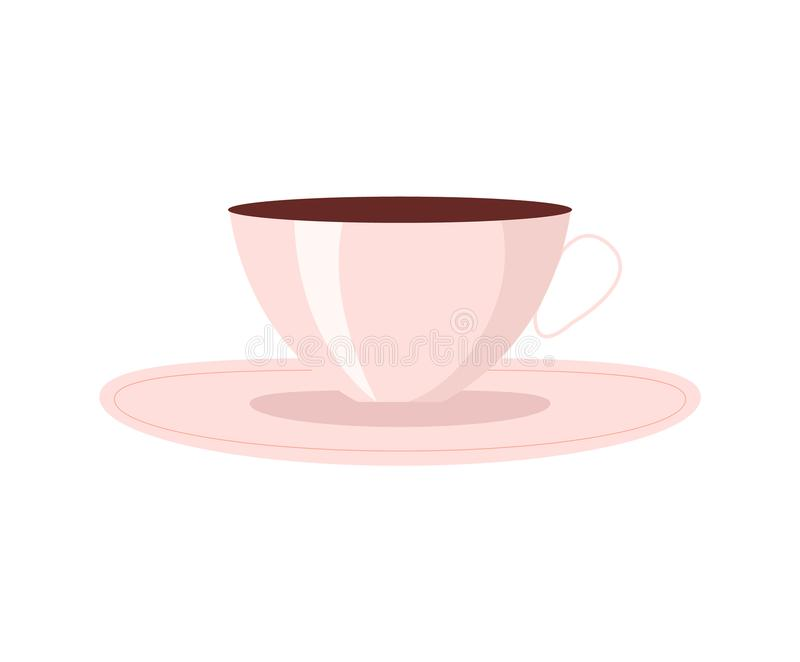 Cup of Coffee with Plate, Vector Illustration royalty free illustration
