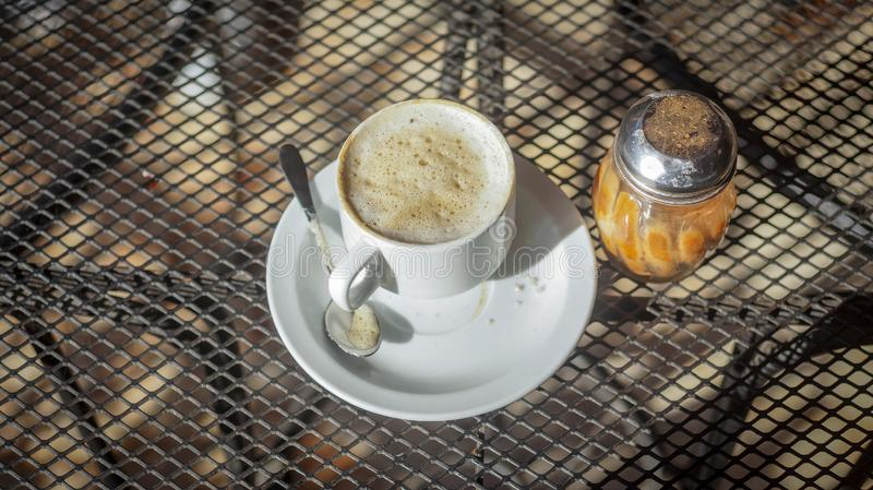 Cup of coffee prepared for your enjoyment royalty free stock photos