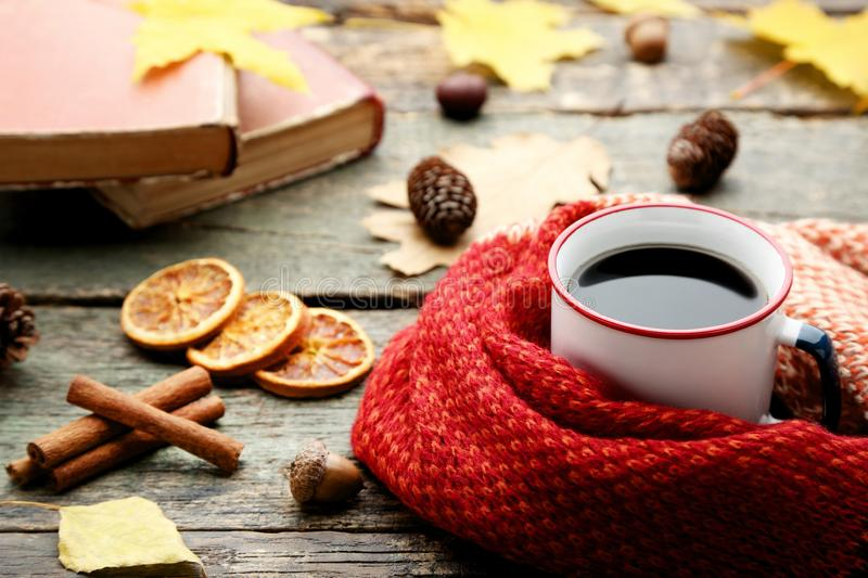 Coffee with scarf, cinnamon and oranges stock images