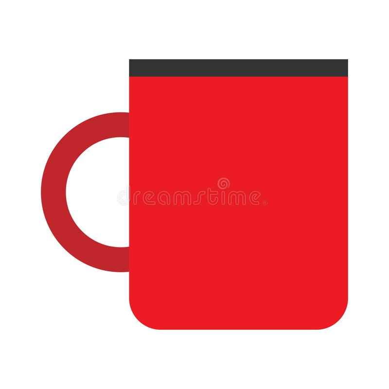 Free Cup Coffee Red Side View Vector Flat Closeup Sign. Chocolate Drink Aroma Hot Restaurant Mug Royalty Free Stock Photography - 146753057