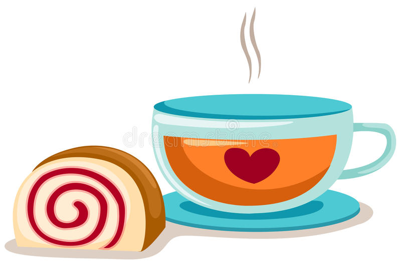 A Cup Of Coffee With Roll Cake Stock Vector - Illustration ...
