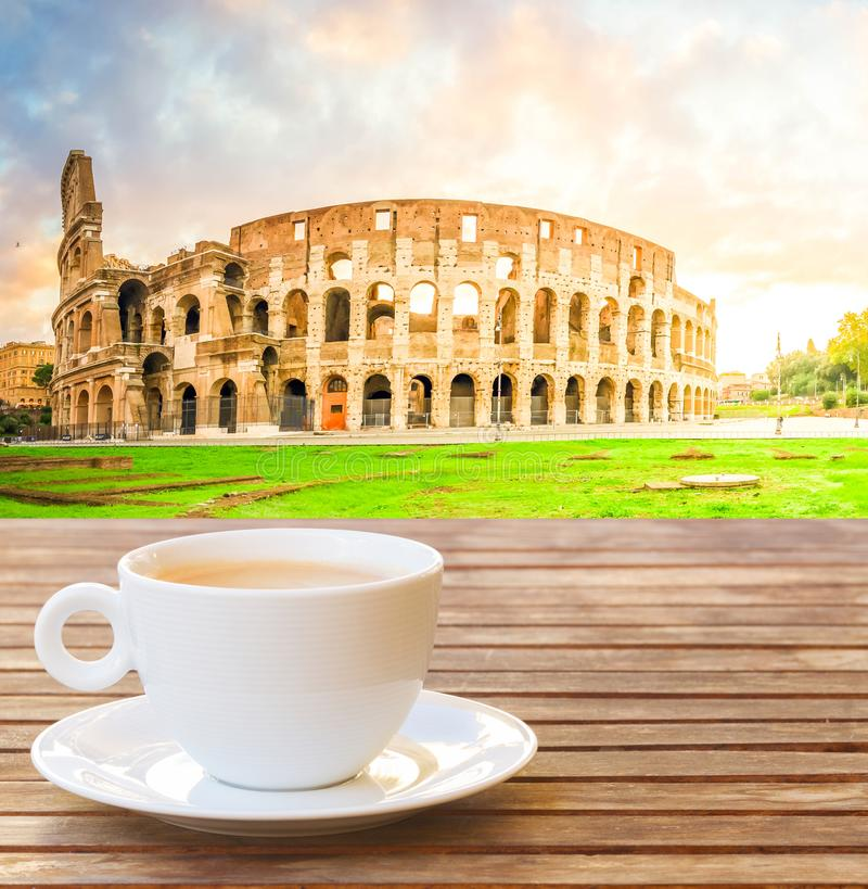 Cup of coffee in Rome royalty free stock photo