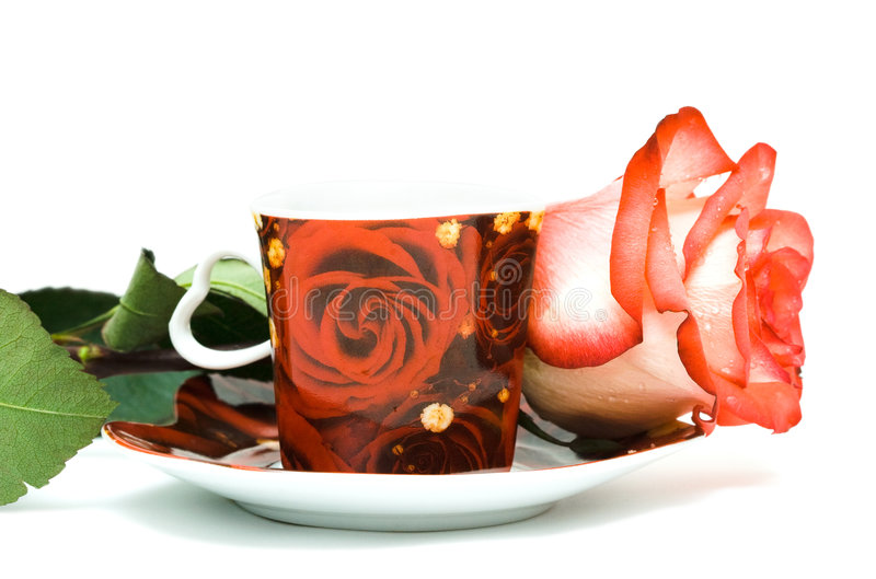 Cup of coffee with rose royalty free stock images