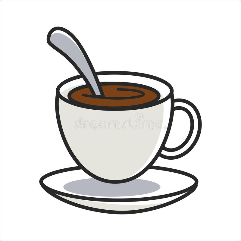 Cup of coffee on saucer and with spoon inside. Cup of tasty coffee on small saucer and with metal tea spoon inside isolated flat cartoon vector illustration on stock illustration