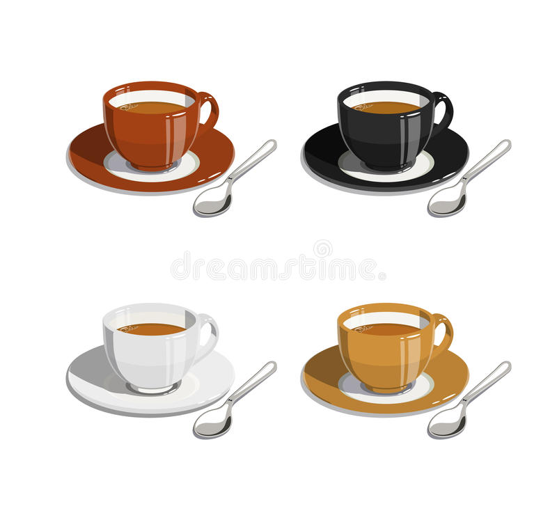 Cup of coffee. Set of illustrations vector illustration