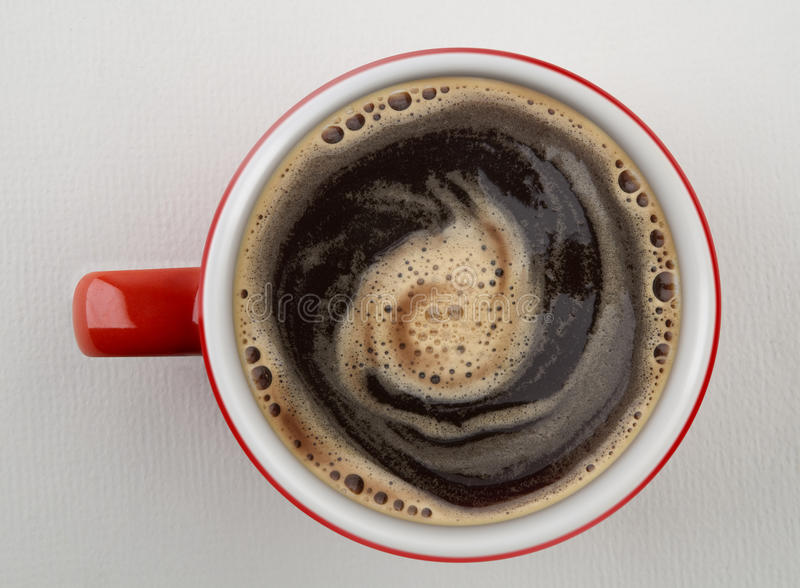 Download Cup Of Coffee Shot From Above Stock Image - Image: 14255693