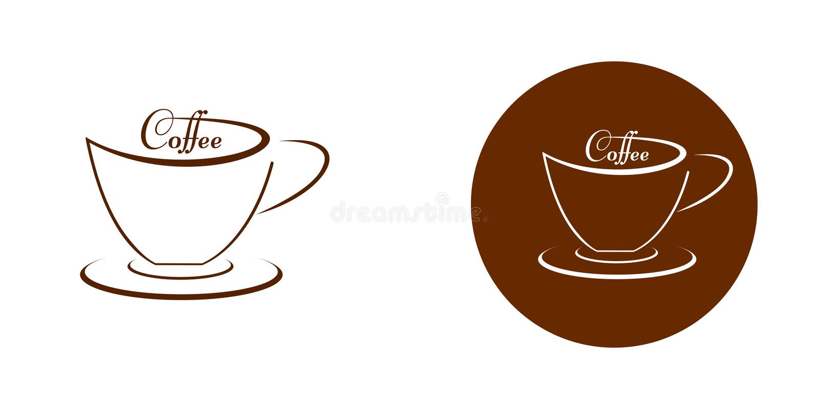 A cup of coffee - a sign on a white and brown background vector illustration