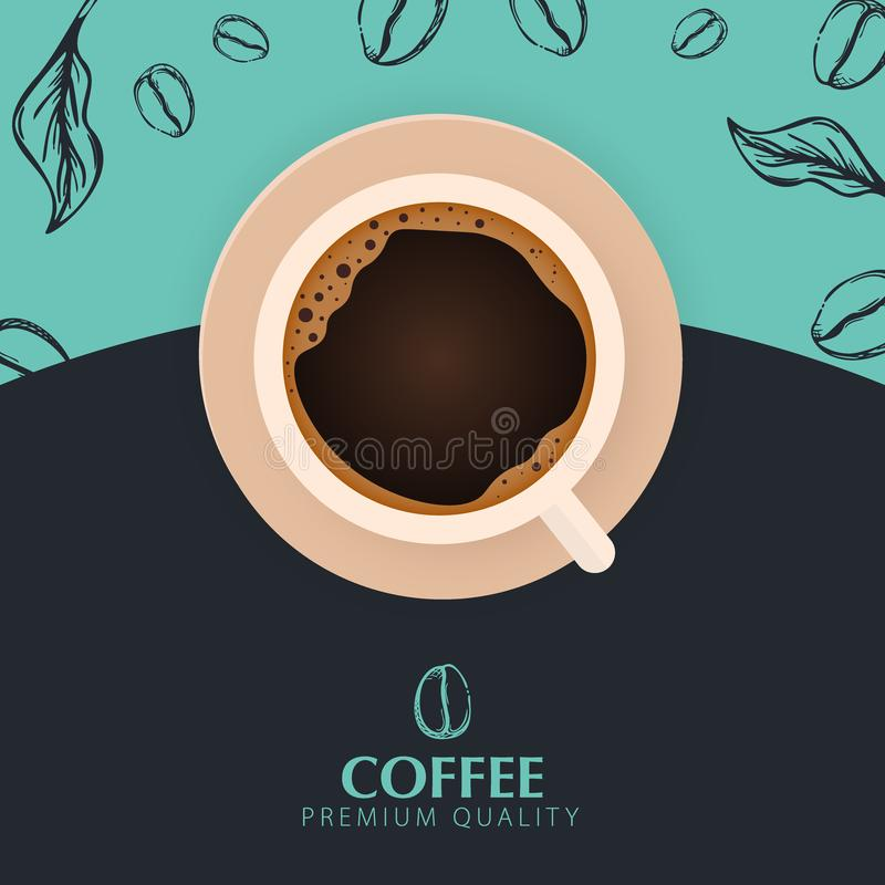 Cup of Coffee. Sketch banner with coffee beans and leaves on colorful background for poster or another template design. vector illustration