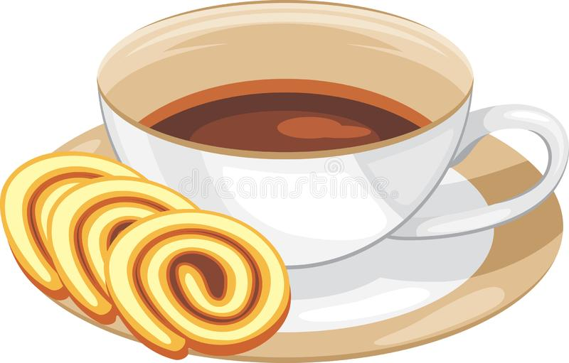 Cup with coffee and slices of chocolate roll cake stock illustration