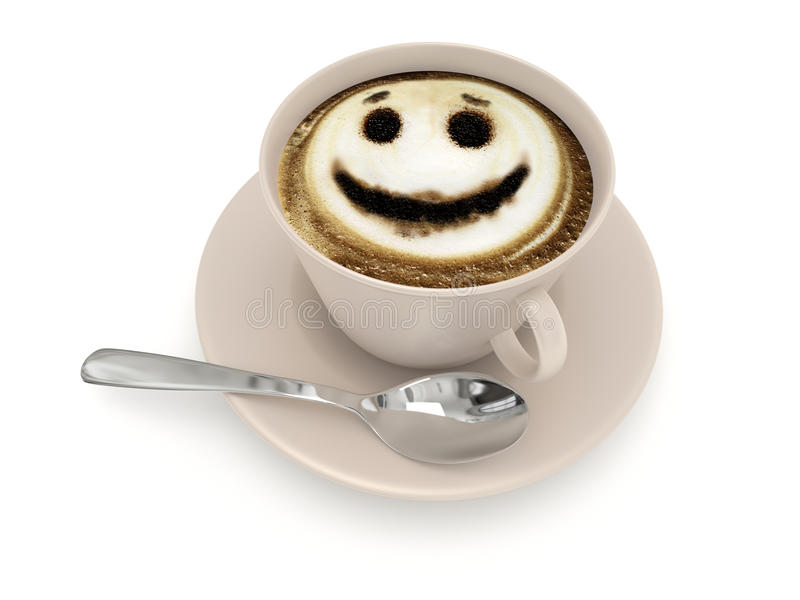 Cup with coffee and smiley of coffee foam royalty free stock image