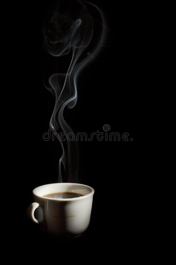 A cup of coffee with smoke stock photos