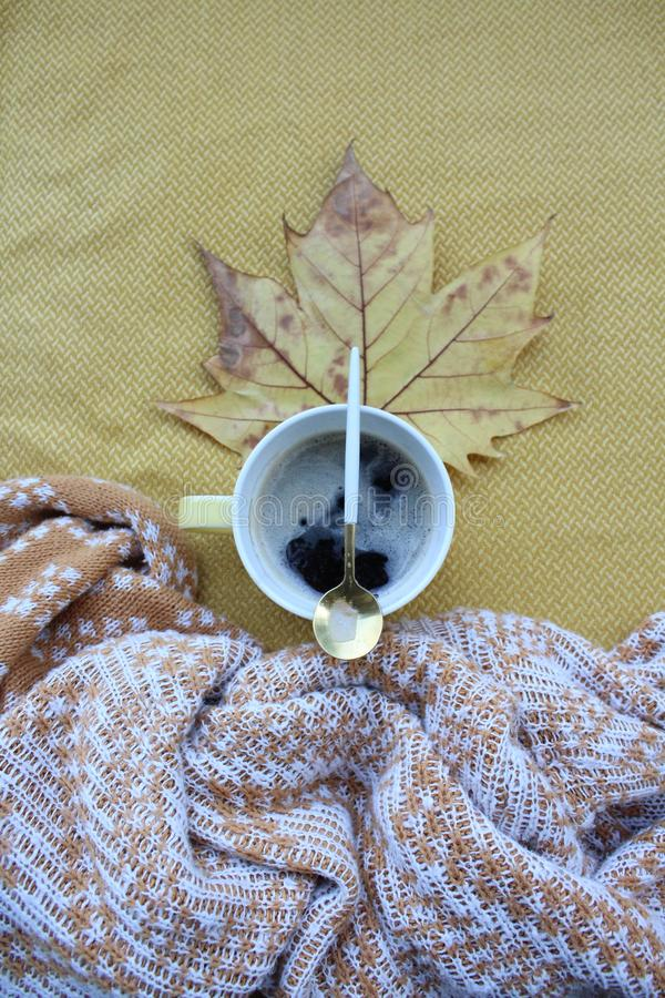 A cup of coffee and leaves stock photography