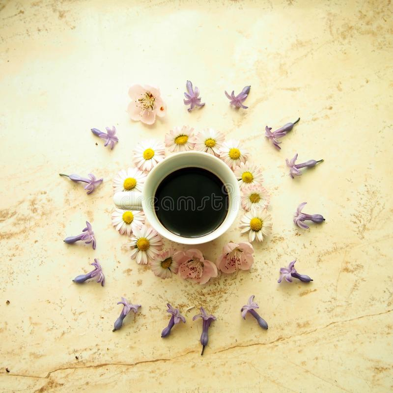 A cup of coffee with spring flowers royalty free stock photo