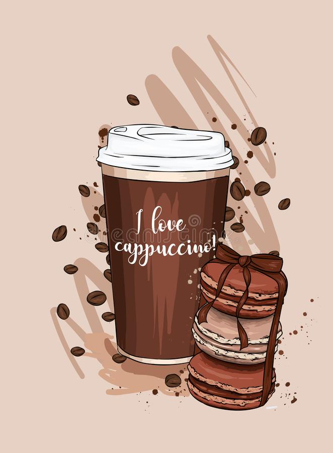 A cup of coffee and a stack of macaroons. Vector illustration. Food and drink, vintage and retro. Print for postcard or poster. stock illustration