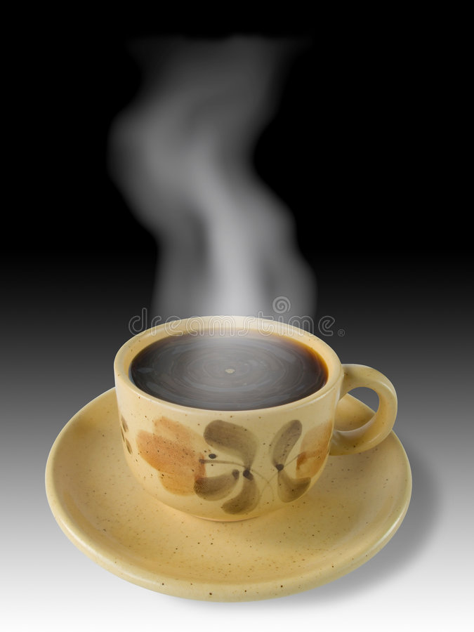 Cup of coffee and steam. White-black background stock photos