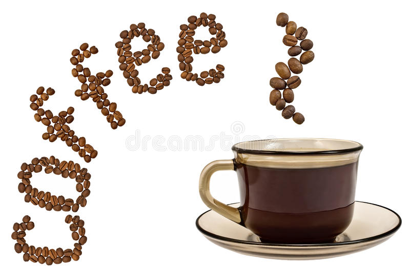 A cup of coffee, steam, and the word of the grains. Brown cup of coffee, steam and the word of the grains isolated on a white background royalty free stock image