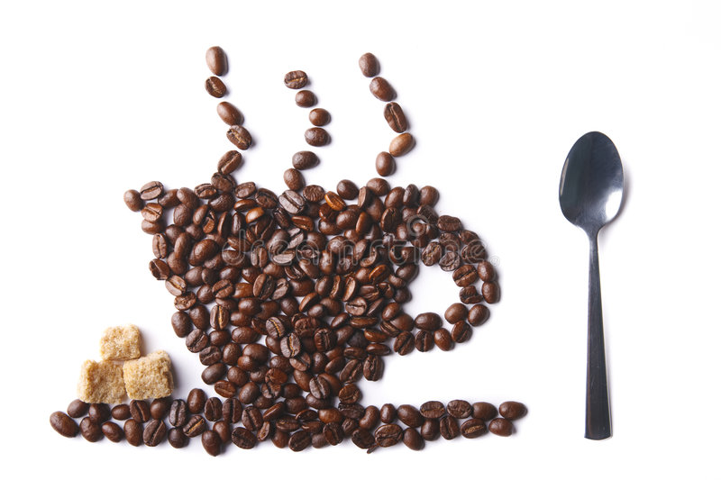 Cup of coffee with sugar and spoon. Cup of coffee made of coffee beans with sugar and spoon stock photos