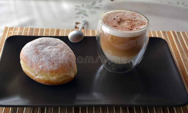 Cup Of Coffee And Sweet Donut stock photos