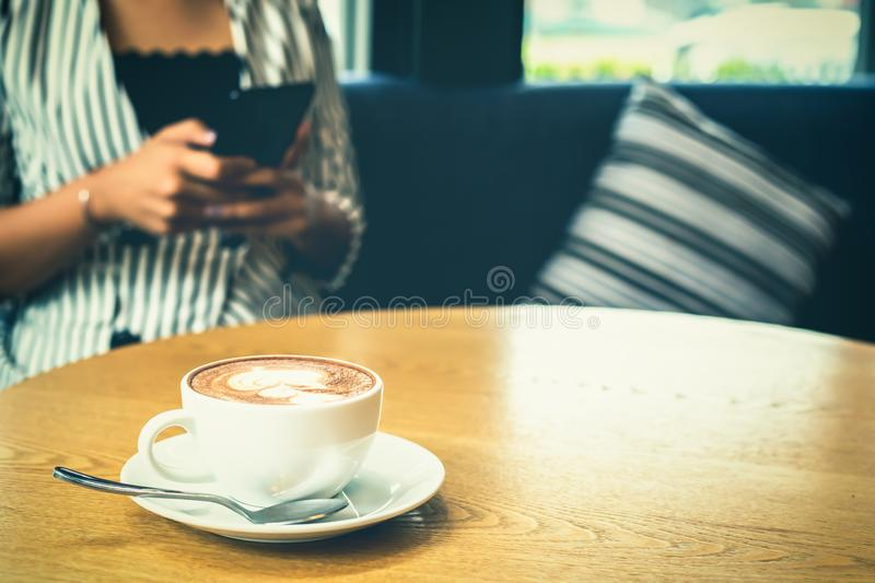 Cup of coffee is on the table. stock photo